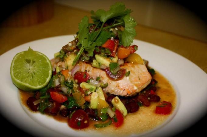 Crispy Salmon Fillets Mexcian Style