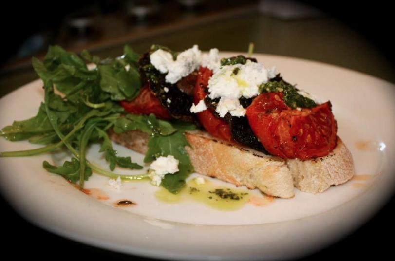 Oven Roasted Tomatoes and Mushrooms on Toast