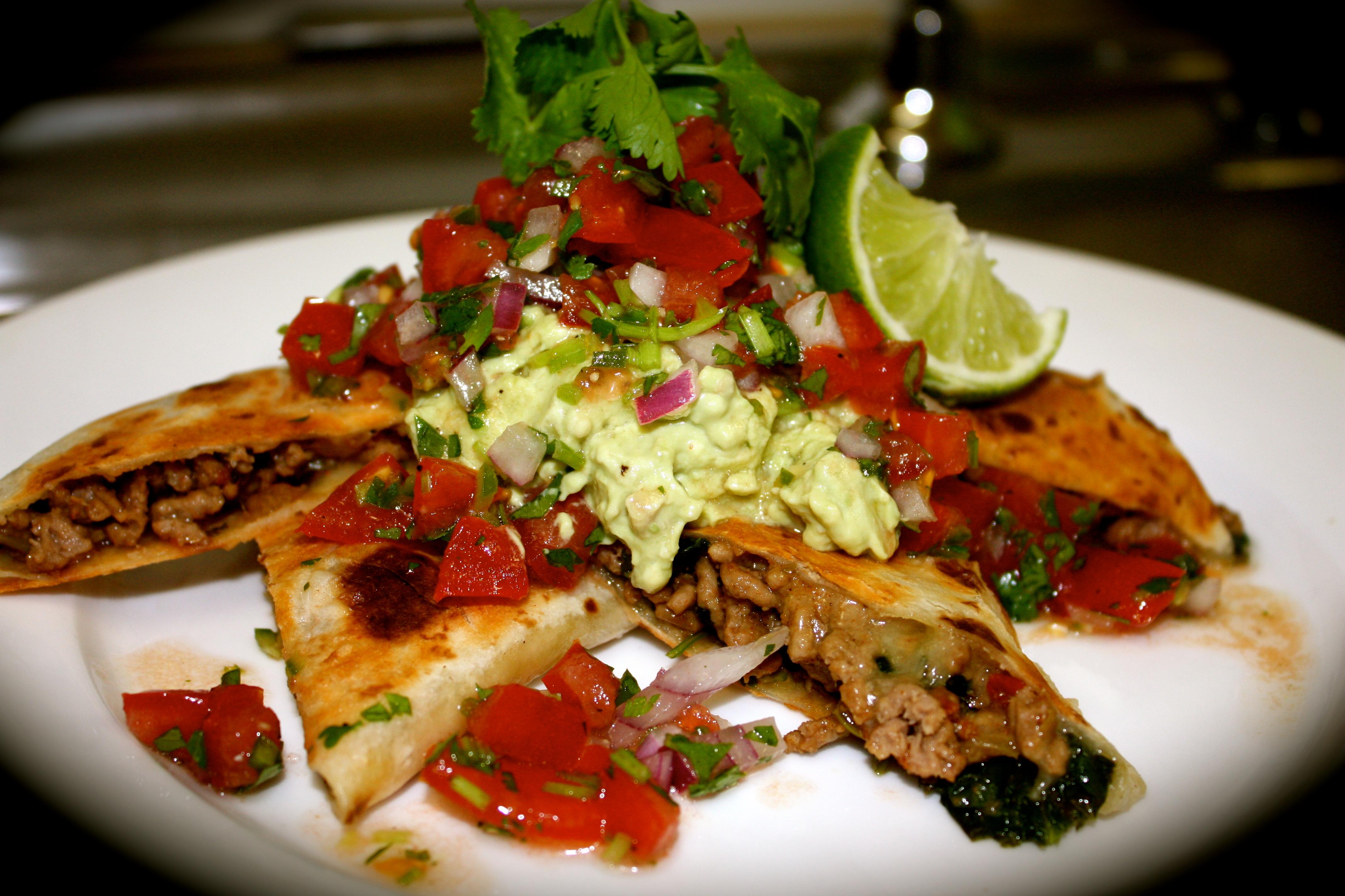 Spicy Lamb & Spinach Quesadillas with Pico De Gallo Salsa & Guacamole