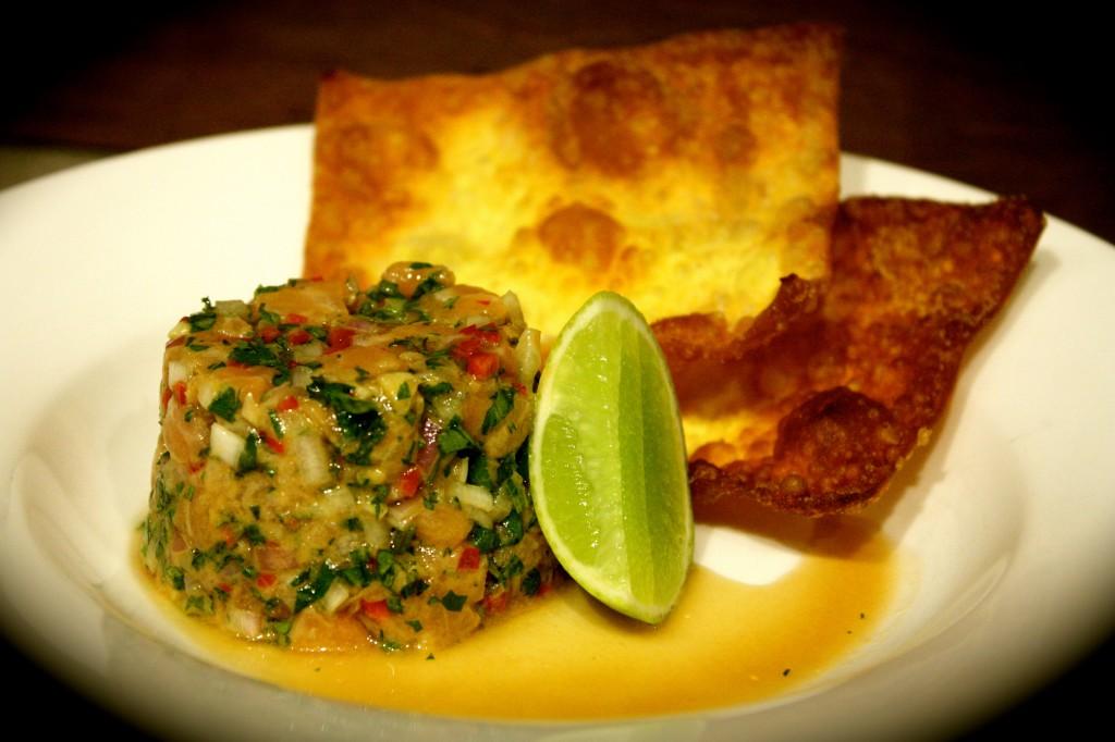 Thai Salmon Tartare with Crispy Wontons