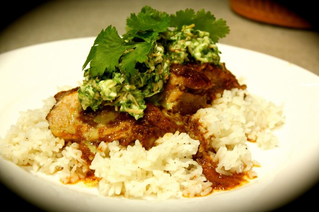 Sticky Rendang Pork Fillets with Coriander & Macadamia Sambal