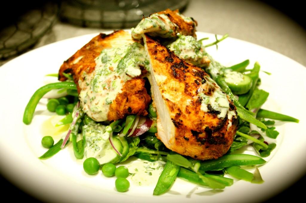BBQ'd Tandoori Chicken with Spring Salad & Lemon & Coriander Dressing