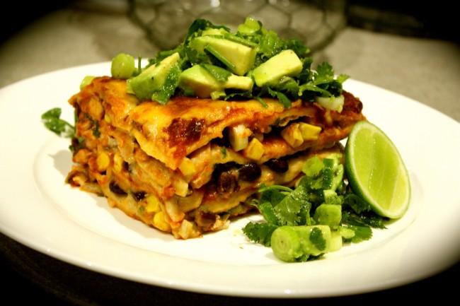 Mexican Chicken Tortilla Lasagne with Avocado Salsa