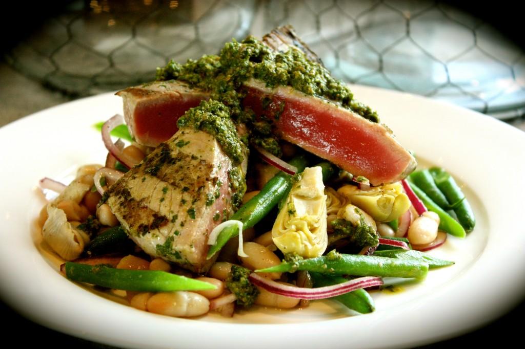 Barbecued Salsa Verde Tuna Steaks with Bean & Artichoke Salad