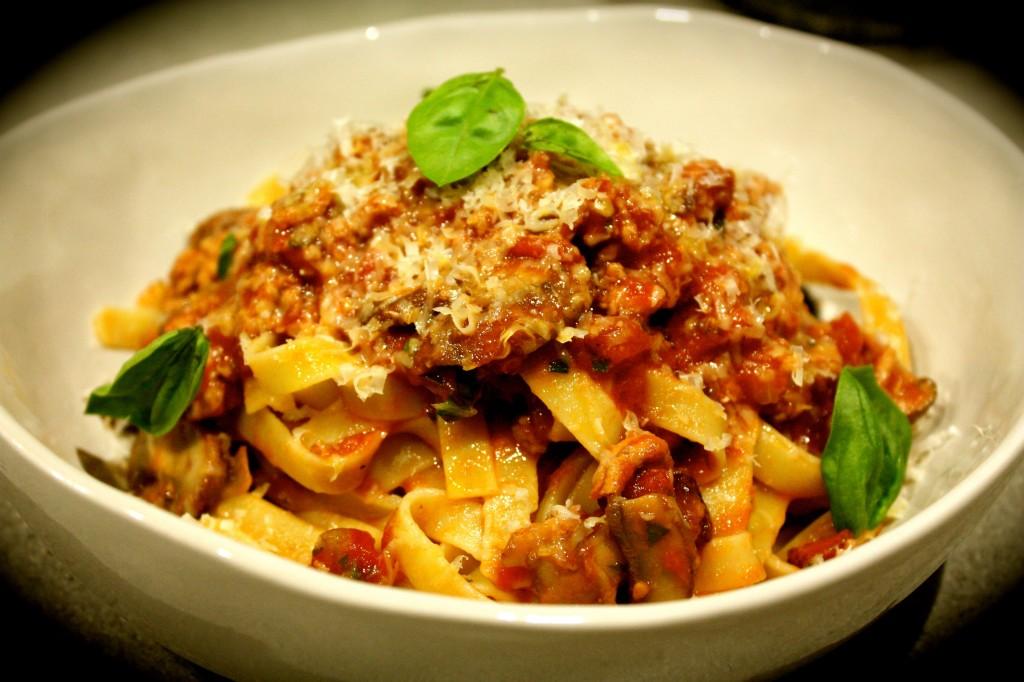 Chorizo, Pork & Mushroom Ragu with Fettuccine
