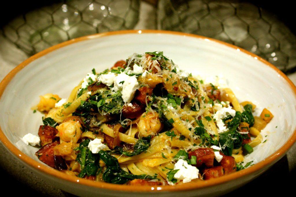 Mediterranean Style Prawn & Chorizo Linguine