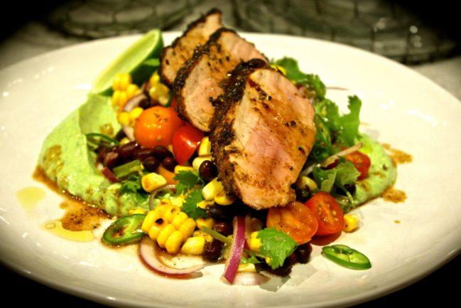 Cajun Pork with Grilled Corn & Black Bean Salad & Avocado Cream