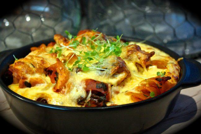 Chorizo & Eggplant Pasta Bake with Creamy Ricotta Topping