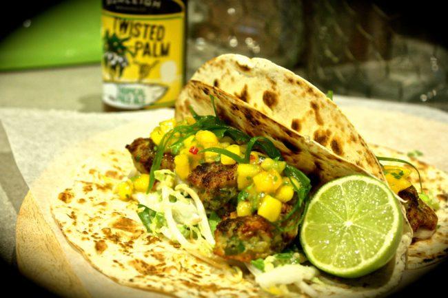 Green Curry Prawn Tacos with Asian Slaw & Mango Chilli Salsa