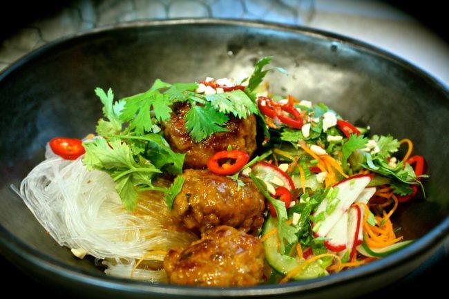 Sticky Pork Meatballs with Glass Noodle Salad