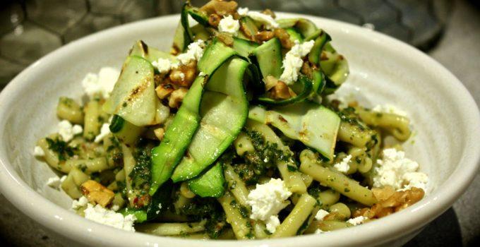 Casarecce with Kale & Walnut Pesto, Grilled Zucchini & Goat's Fetta