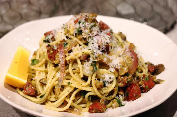 Spaghetti with Parsley, Roast Almond & Sundried Tomato Pesto
