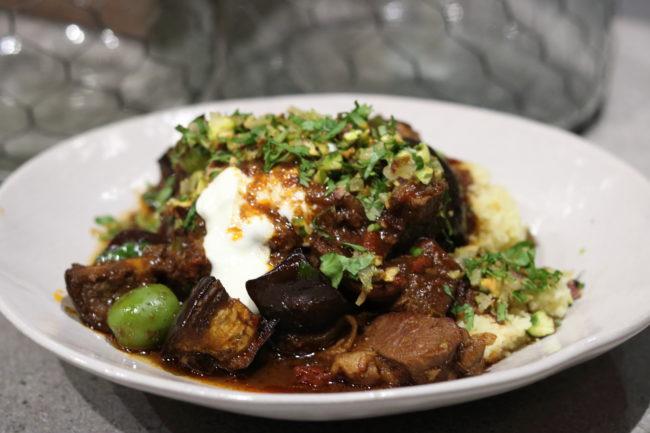 Beef & Eggplant Tagine with Pistachio Crumble
