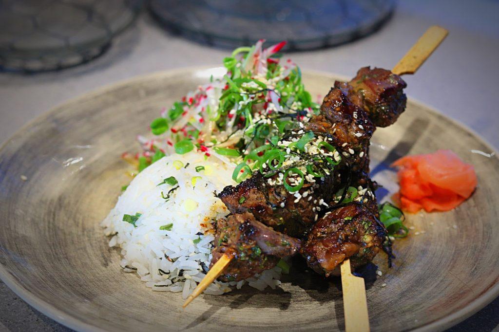Green Tea Yakitori Beef with Seasoned Rice & Radish Salad