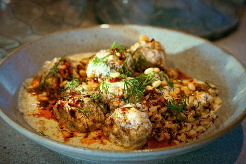 Turkish Lamb Meatballs in Warm Yoghurt Sauce