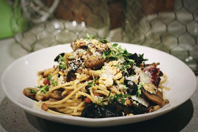 Spaghetti with Speck, Mushrooms & Radicchio