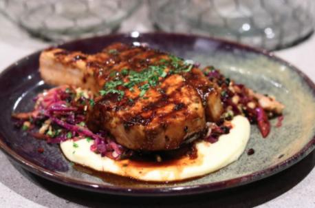 Dijon Pork Cutlets with Braised Cabbage