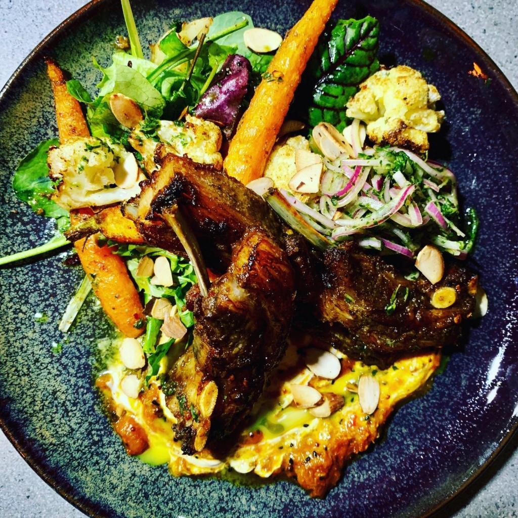 Spiced Lamb Ribs with Warm Veg Salad & Kasundi Yoghurt