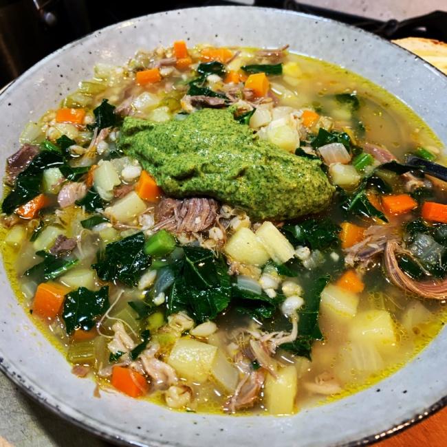 Lamb Shank & Barley Soup with Salsa Verde