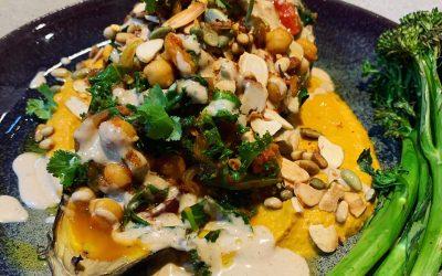 Vegan Chickpea Curry Stuffed Eggplants