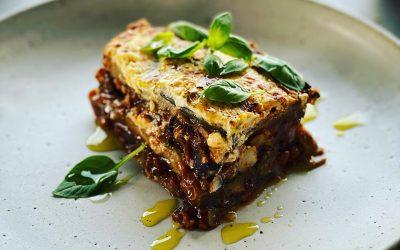Eggplant Lasagne with Lentils, Mushrooms & Artichokes
