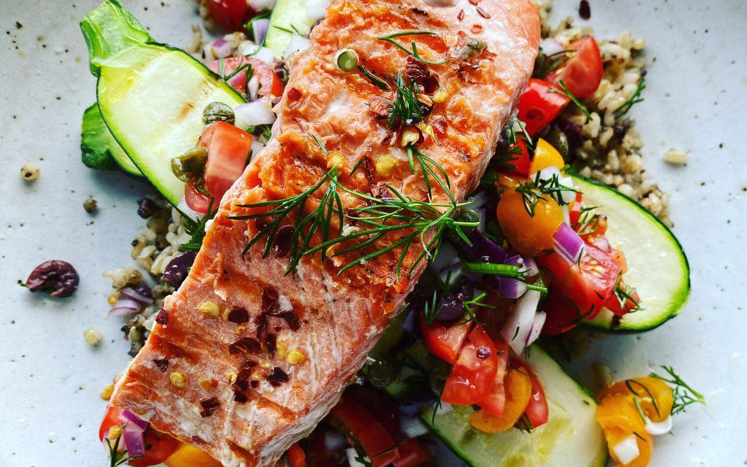 Wild Caught Salmon with Ancient Grains, Zucchini, Tomato & Caper Salsa